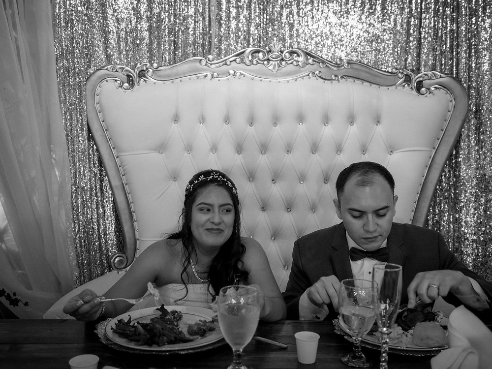 The couple enjoys some dinner before all of the dancing