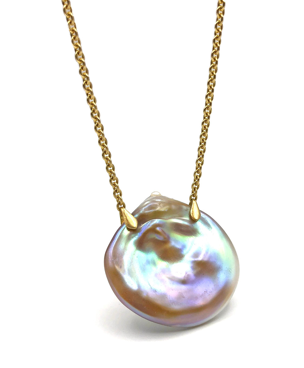 """Pink Pearl Coin Necklace 16"""" 