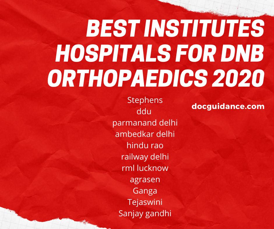 Best Institutes hospitals for DNB orthopaedics 2020