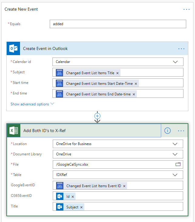 Screenshot showing the process to add a new event in Outlook.