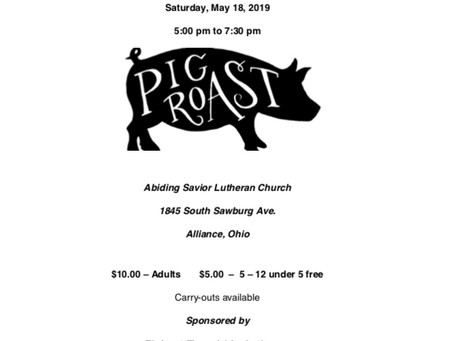 Abiding Savior Lutheran Church Hosting Pig Roast on May 18th to Benefit the 2019 Apostle Build!