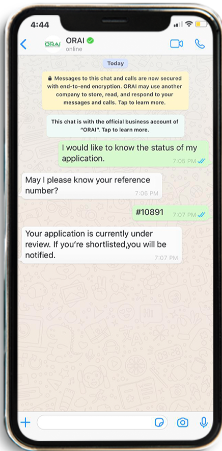 AI Chatbot helping with  Application Tracking