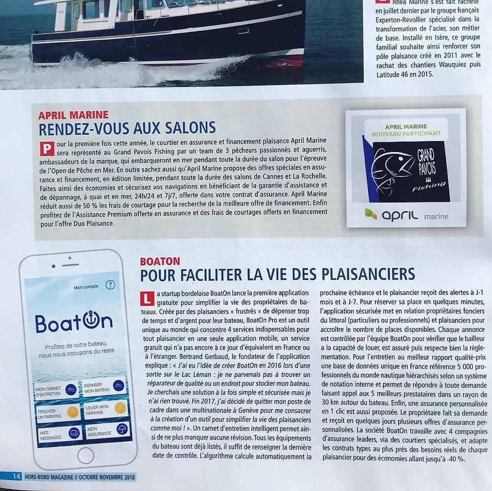 Article Hord-Bord magazine sur BoatOn