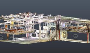 Nube de puntos de planta industrial obtenida mediante escaneo láser 3D