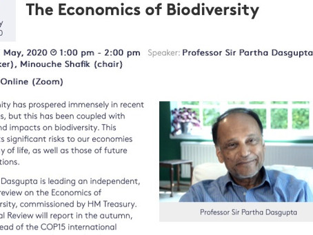 EVENT: Prof Partha Dasgupta in Free Web Talk on the Economics of Biodiversity, May 7th, 2020