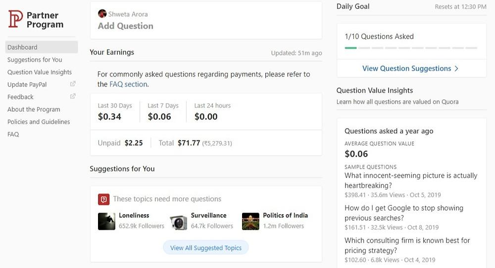 Quora Partner Program Dashboard