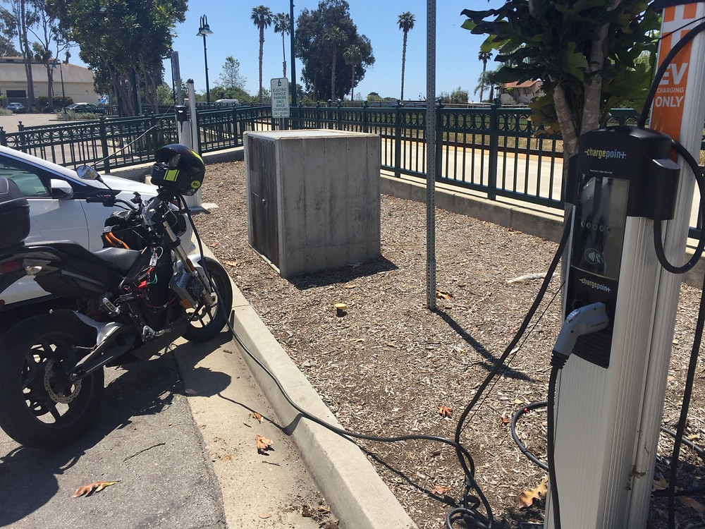 Morgan Vetter and Brandon Miller Race from LA on electric motorcycles zero beach front stop carpinteria
