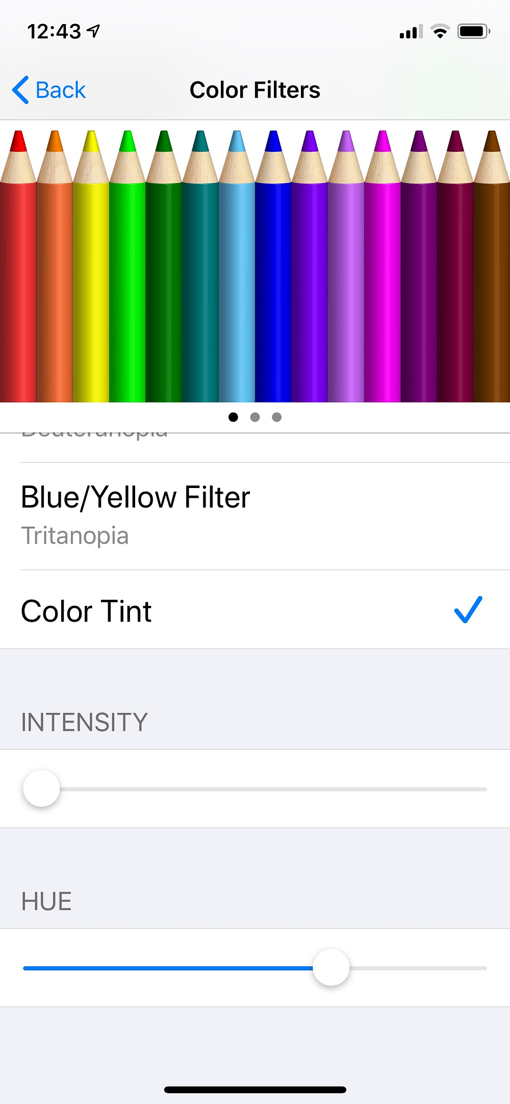 Color Filters Settings on iPhone