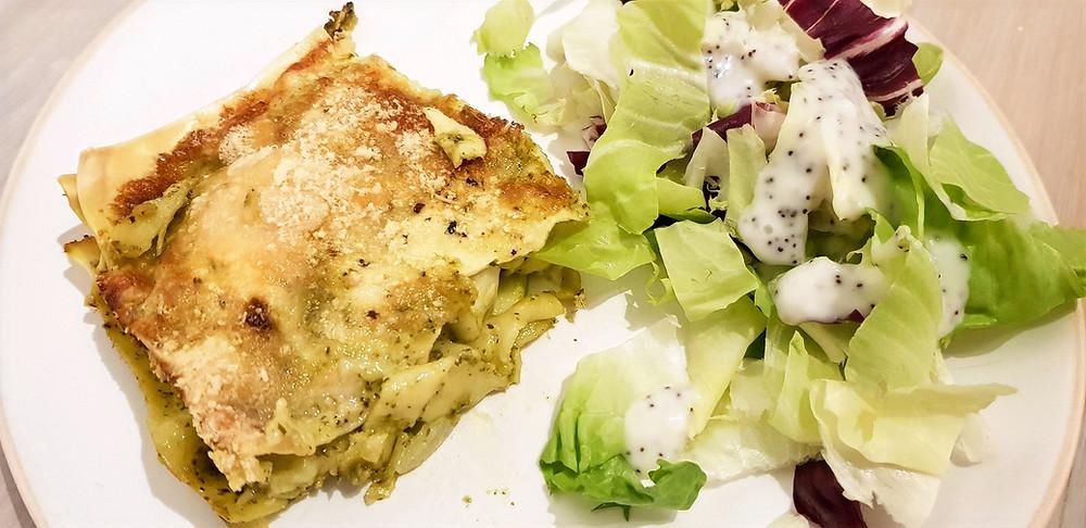 Veggie lasagna with zucchini and pesto sauce