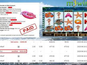 Dolphin Reef slot game get jackpot to win RM3200 in 918kiss.