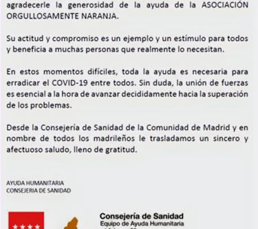 Carta agradecimiento de la Consejería de Salud de la Comunidad de Madrid
