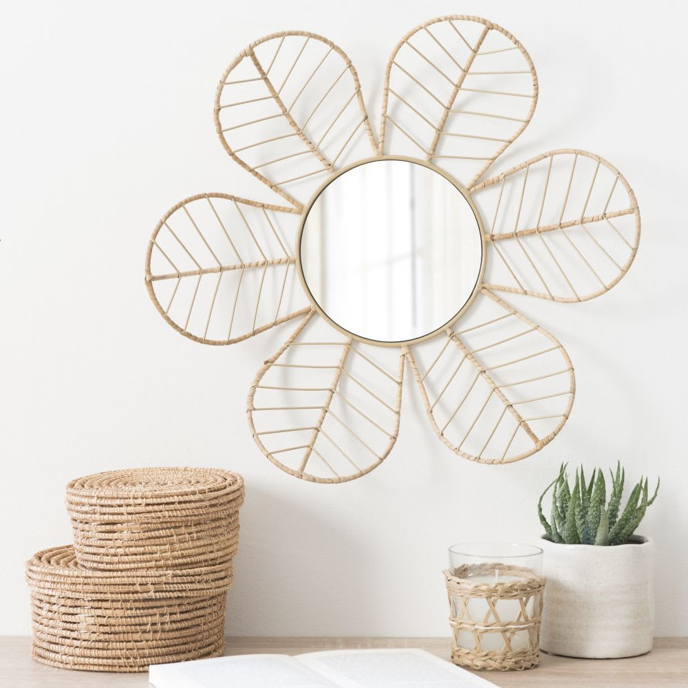 white rattan flower mirror