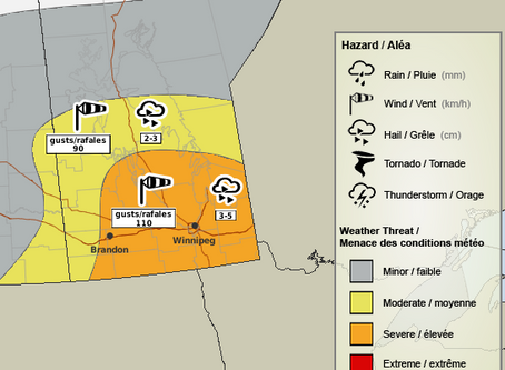 Severe thunderstorms expected tomorrow across Manitoba