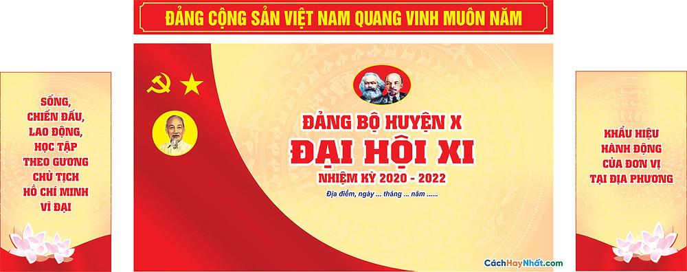 Vector Đại Hội Đảng Mẫu Backdrop Phông Sân Khấu