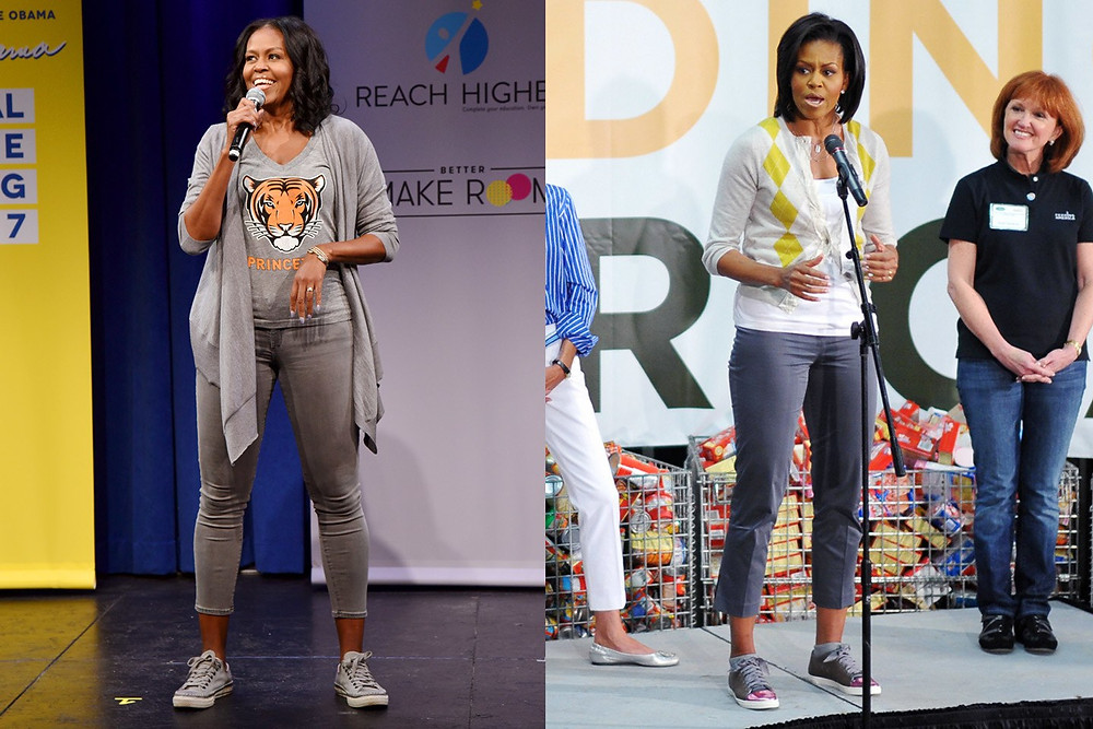 Former First Lady Michelle Obama. Left, by Bryan Bedder; Right, by Mandel Ngan/AFP, both from Getty Images.