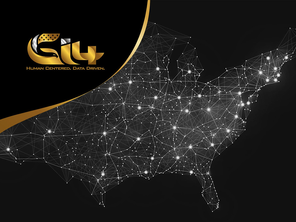 Lighted map of the United States with network nodes and Gi4 logoLighted map of the United States with network nodes and Gi4 logo