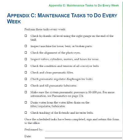Sample Alliance Maintenance Checklist