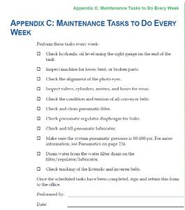 Sample Alliance Maintenance Checklist