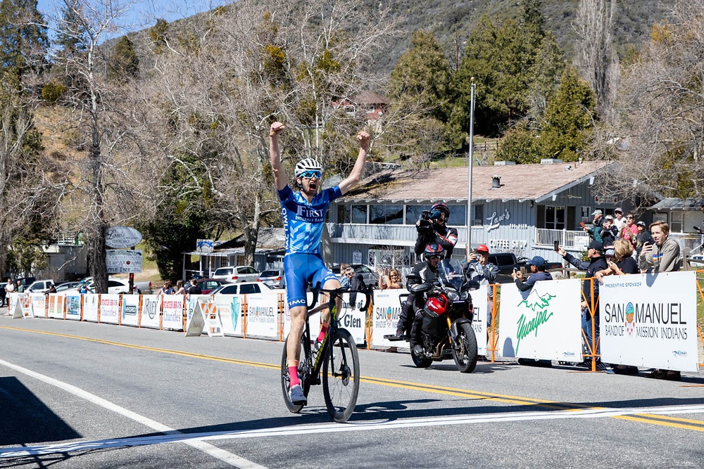 Steve winning stage 3 of the Redlands Bicycle Classic in Oak Glen