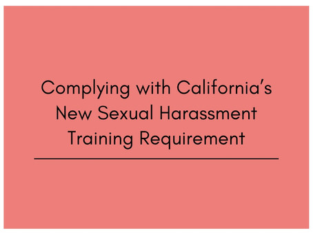 WORKPLACE SEXUAL HARASSMENT - ONLINE TRAINING