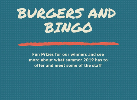 Burgers and Bingo, May 1, 6PM