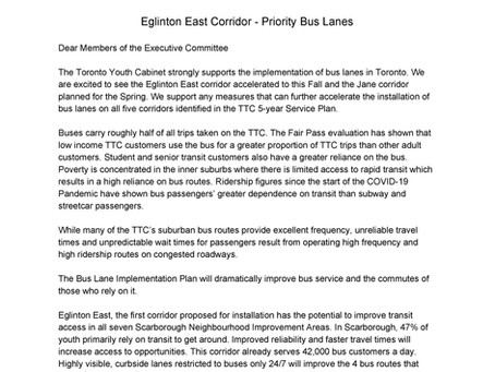 TYC Letter to the Executive Committee on Bus-Only Lanes