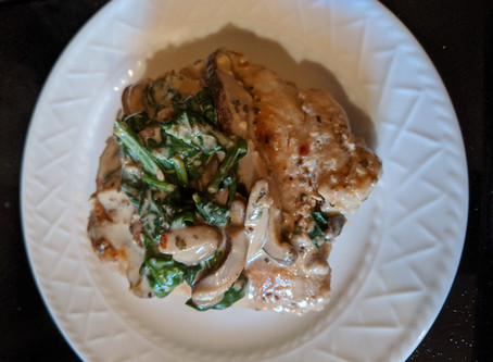 Viktor's Spinach & Mushroom Pork Chops