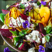 Beet Carpaccio with Bleu Cheese Mousse
