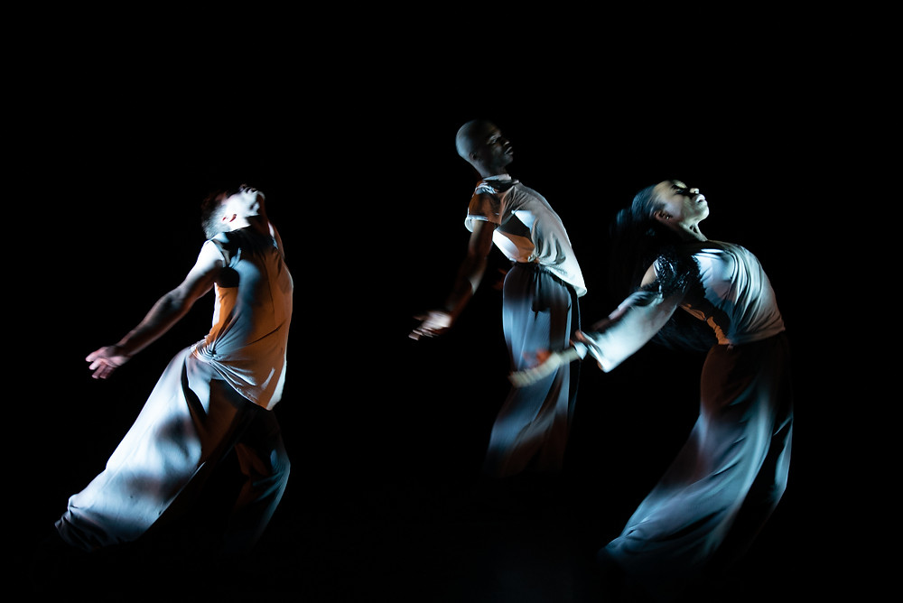 Will Thompson, Moronfoluwa Odimayo and Alethia Antonia of the Russell Maliphant Company in the award-winning choreographer's new work, Silent Lines, at The Lowry.