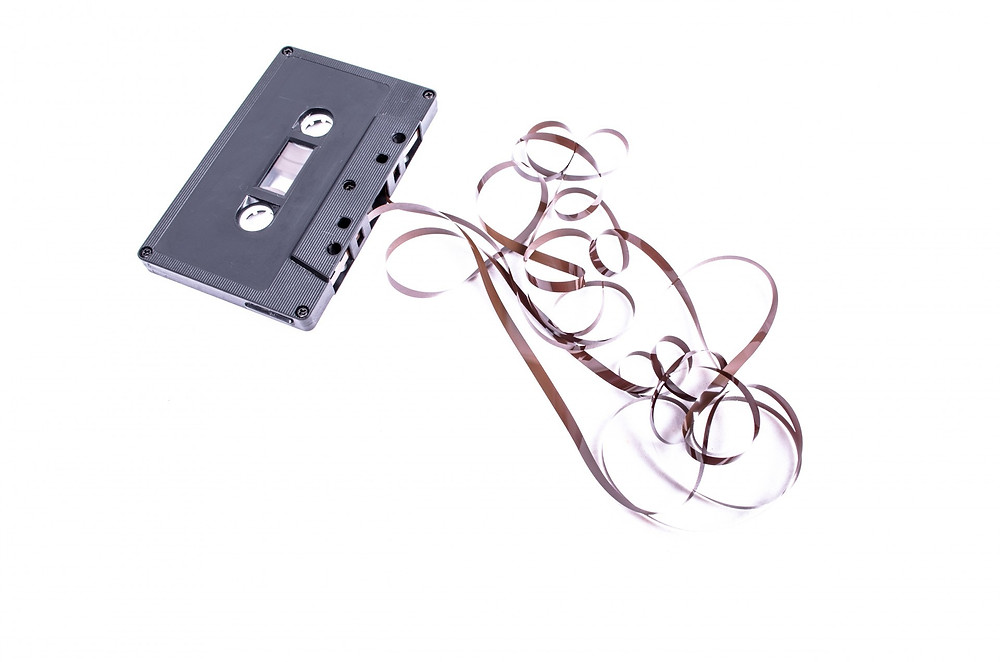 Unravelled audio cassette