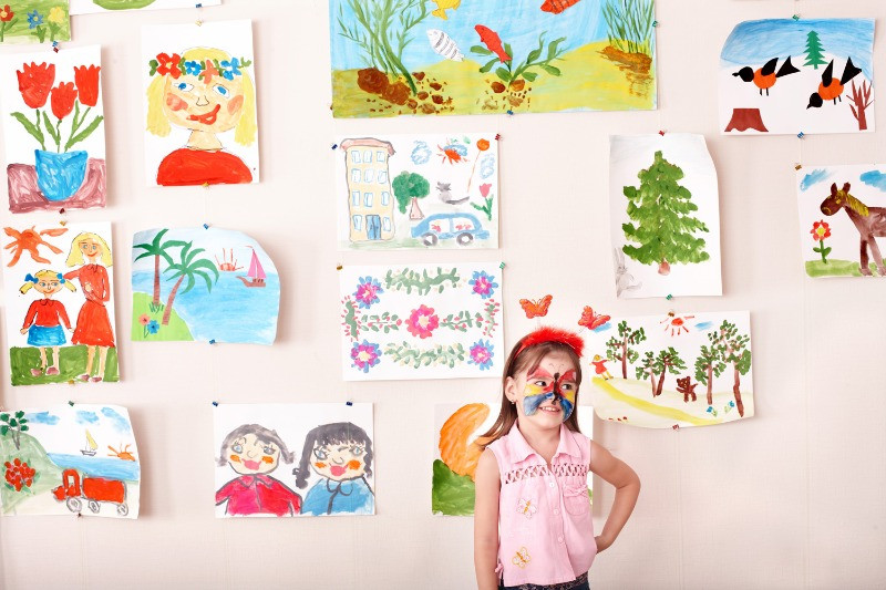 Children's Drawings put up on the wall