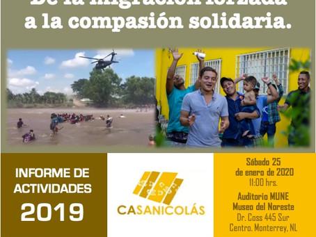 Invitación abierta al Informe de Actividades 2019 de Casanicolás
