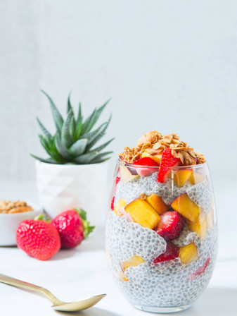 Chia Seed Pudding with Strawberries & Peaches - Vegan + GF