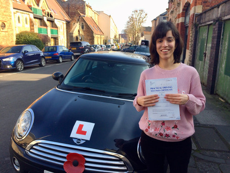 Congratulations Sabrina on Passing your Driving test so well with only a few minor driving faults.