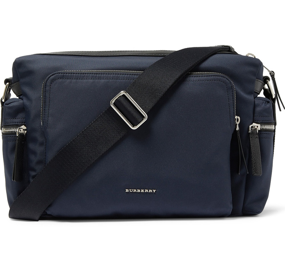 BURBERRY LONDON LEATHER-TRIMMED CANVAS MESSENGER BAG (The Avenues mall)