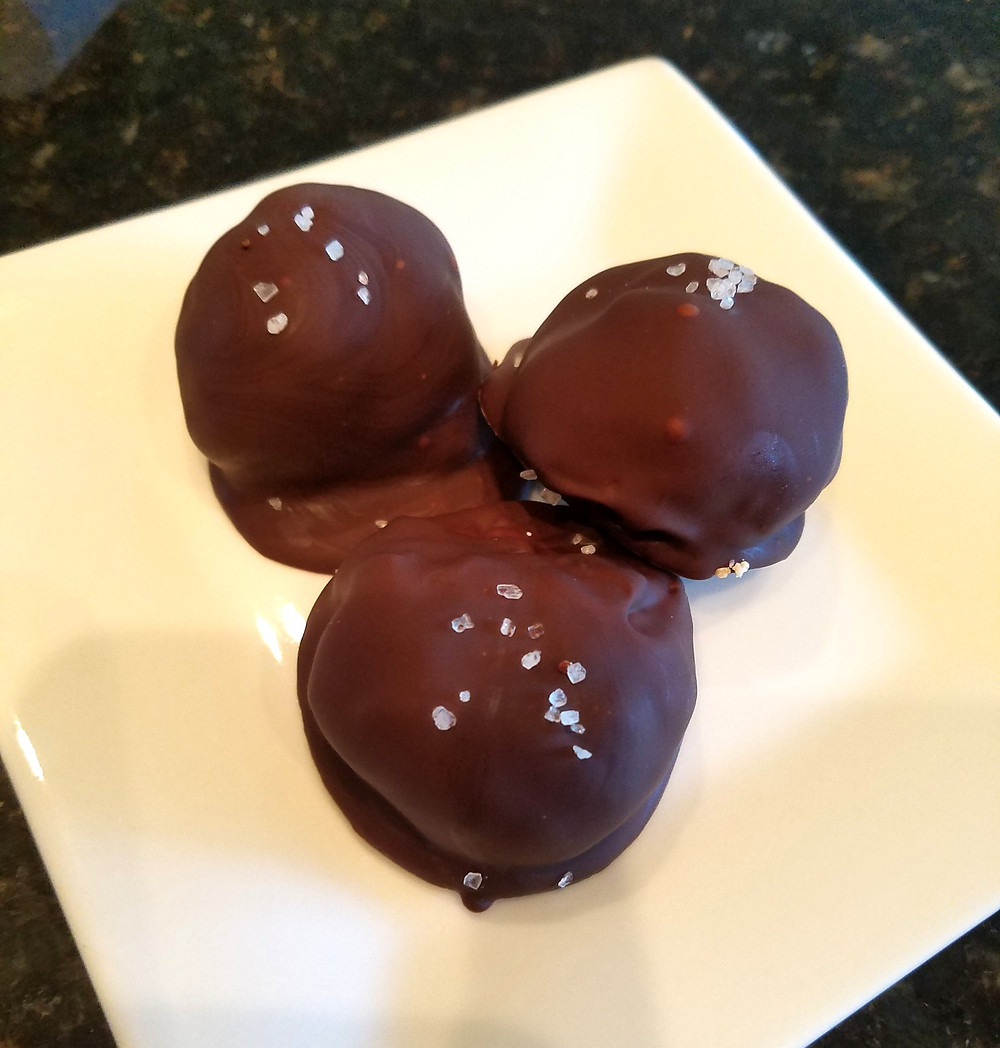 Four Ingredient Chocolate-Covered Almond-Butter Bon Bons (No gluten, soy, dairy, grains).