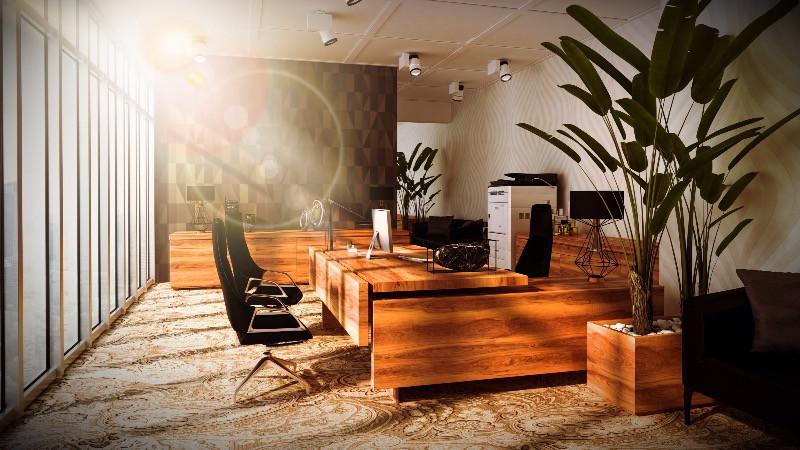 Despacho para ejecutivo con mobiliario en madera natural y decoración moderna y de diferentes tendencias en decoración de oficinas.