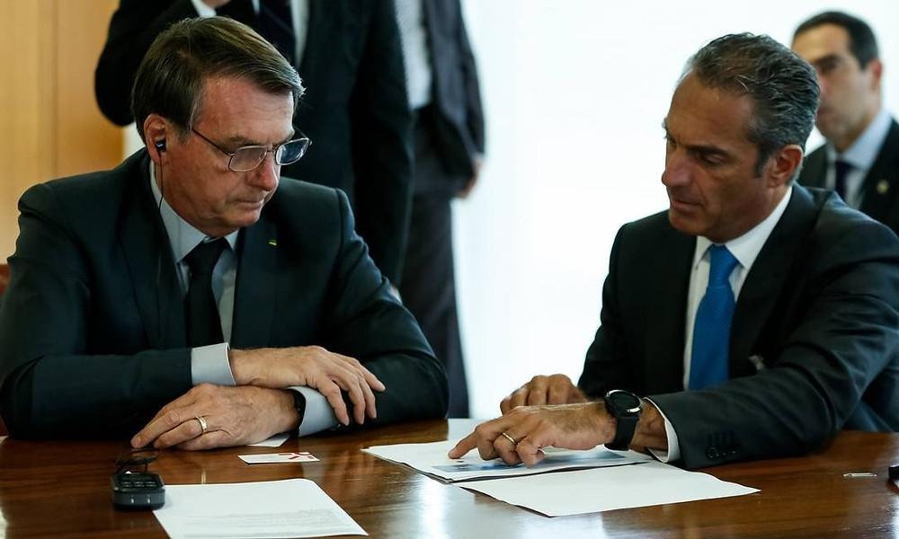 Jair Bolsonaro e o empresário mexicano Carlos Slim Domit, no encontro em Brasília Foto: Carolina Antunes/PR