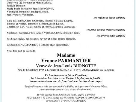 Annonce nécrologique de Madame Yvonne Parmentier veuve de Monsieur Jean-Louis Burnotte