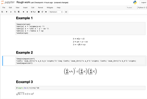 Writing mathematical equations in jupyter notebook