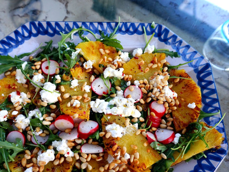 Roasted pineapple, radish, ricotta & chilli salad