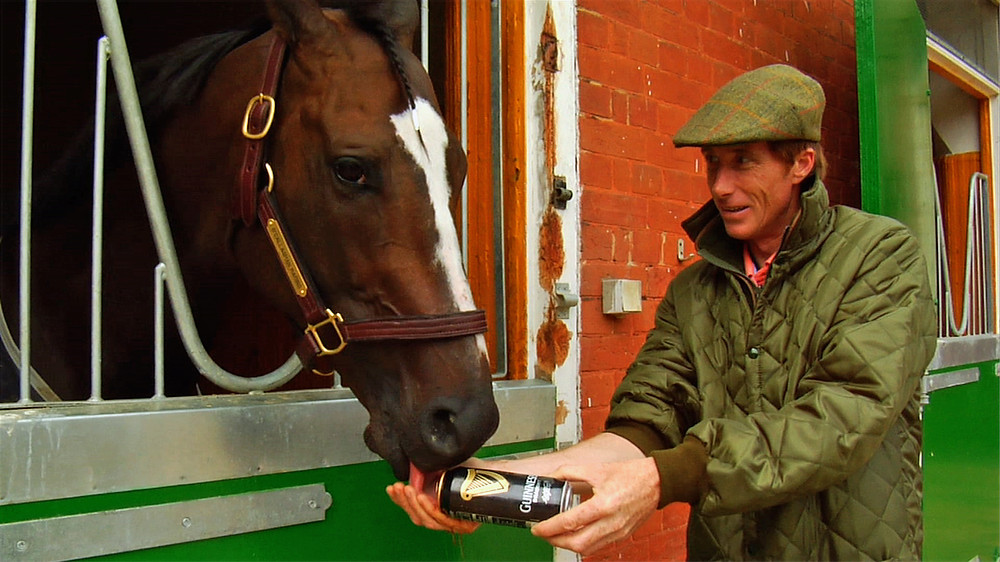 "Kinsale King, Dubai Golden Shaheen winner, and trainer Carl O'Callaghan. Horse racing documentary ""Chasing the Win"""