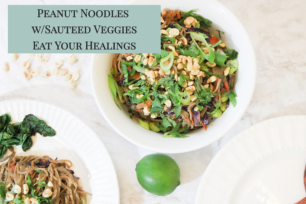 Peanut sauce over soba noodles with sauteed vegetables