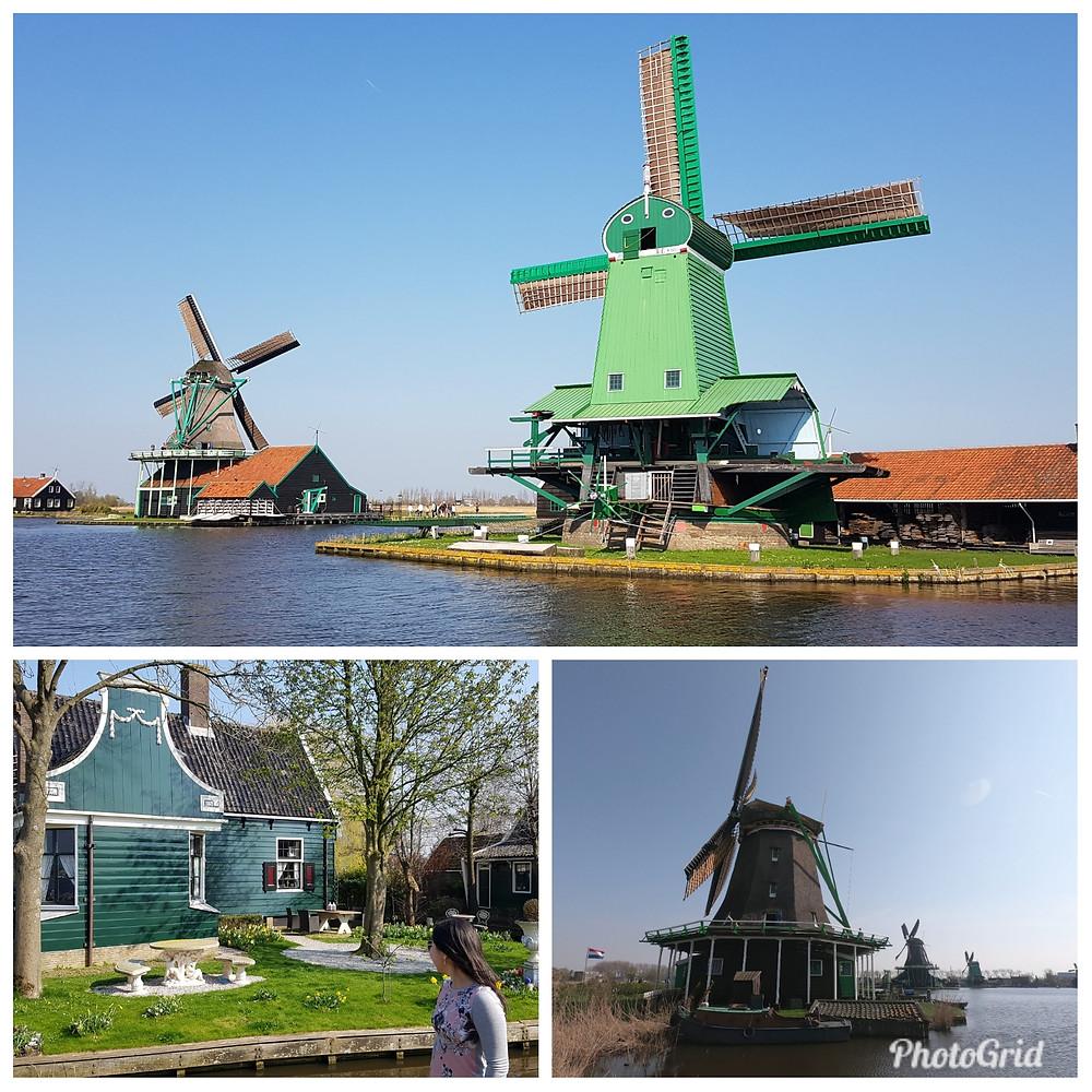 Construções típicas e moinhos de vento em Zaanse Schans