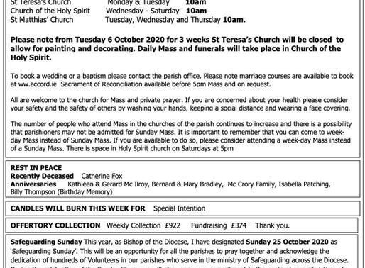 The St Teresa's Parish Bulletin for Sunday, 4th October 2020