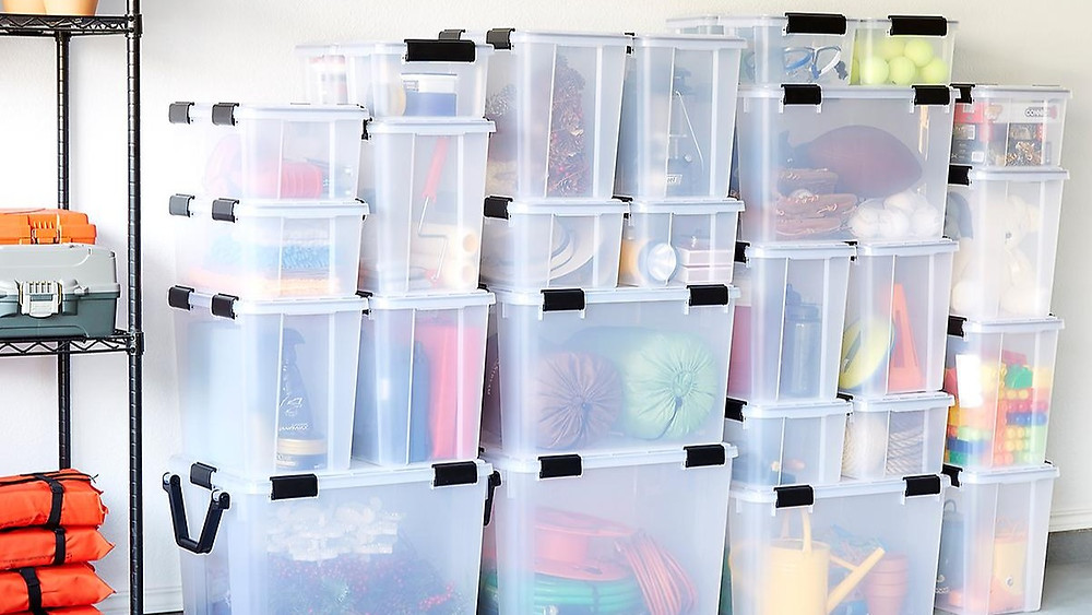 Weathertight storage totes from The Container Store