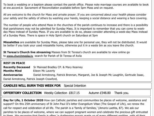 The St Teresa's Parish Bulletin for Sunday, 27th September 2020