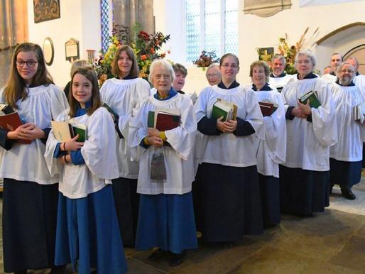 Choir lined up for Harvest Festival 2019