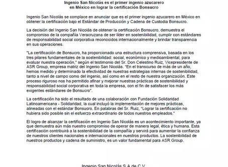 Ingenio San Nicolás es el primer ingenio azucarero en México en lograr la certificación Bonsucro