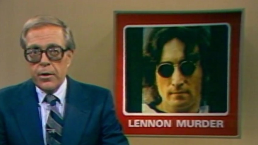 News Footage of presenter announcing John Lennon's murder.